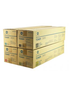 Genuine Konica Minolta C654 Toner Cartridge Set CYMK